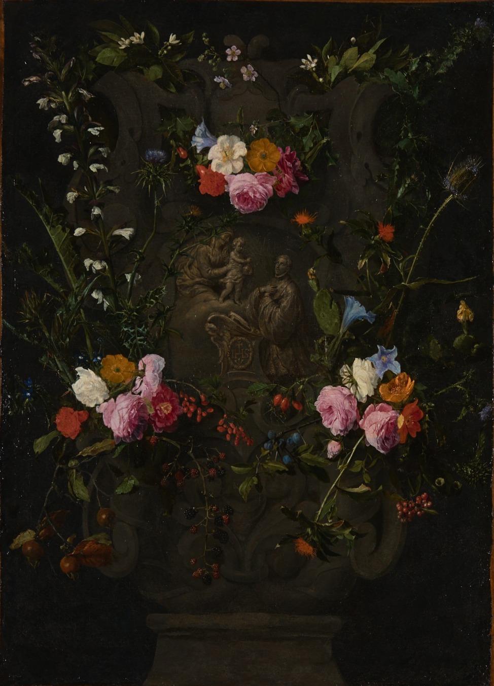 Daniël Seghers - Bloemenkrans met de heilige Franciscus Xaverius